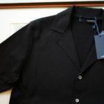 LARDINI (ラルディーニ) Milano Rib Knit Shirts (ミラノリブ ニット シャツ) コットン ミラノリブ オープンカラー ニット シャツ BLACK (ブラック・999) Made in italy (イタリア製) 2019 春夏新作のイメージ