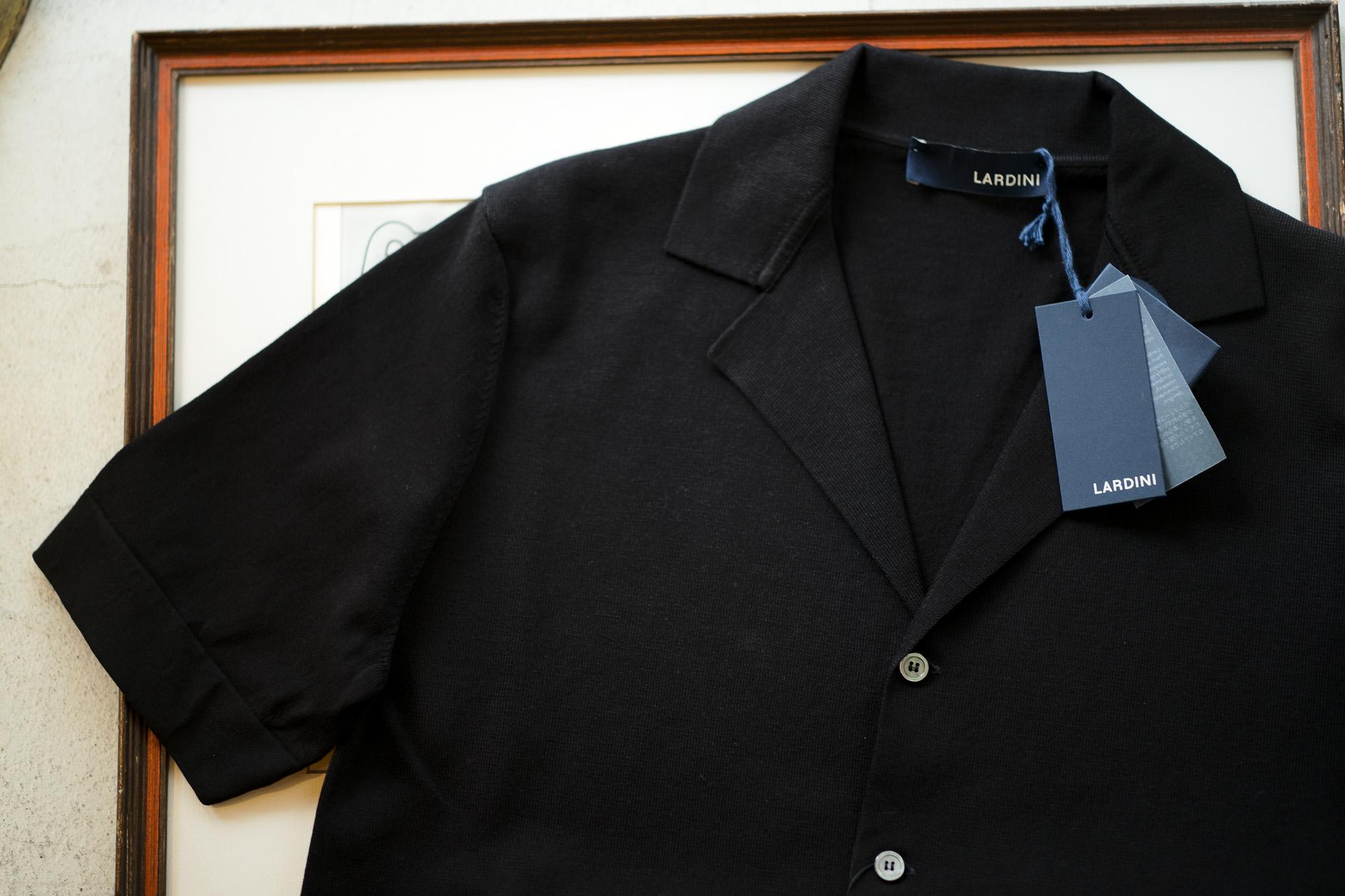 LARDINI (ラルディーニ) Milano Rib Knit Shirts (ミラノリブ ニット シャツ) コットン ミラノリブ オープンカラー ニット シャツ BLACK (ブラック・999) Made in italy (イタリア製) 2019 春夏新作 愛知 名古屋 altoediritto アルトエデリット