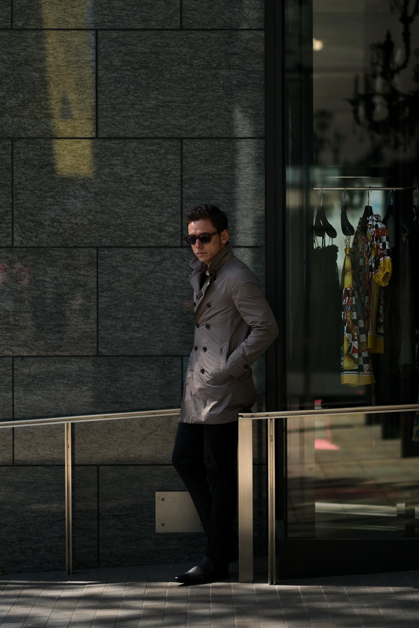 MOORER (ムーレー) SC / MORANDI-KM (モランディ) ポリエステル ダブルブレスト スタンドカラー スプリング コート VISONE (グレージュ) Made in italy (イタリア製) 2019 春夏新作 愛知 名古屋 altoediritto アルトエデリット