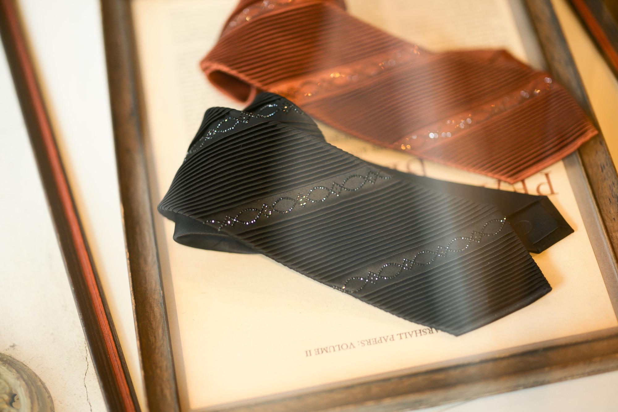 STEFANO RICCI (ステファノリッチ) SWAROVSKI PLEATS TIE (スワロフスキー プリーツタイ) プリーツ ネクタイ BLACK(ブラック),BROWN(ブラウン) Made in italy (イタリア製) 2019 春夏新作 【Special Model】 stefanoricci 愛知 名古屋 altoediritto アルトエデリット