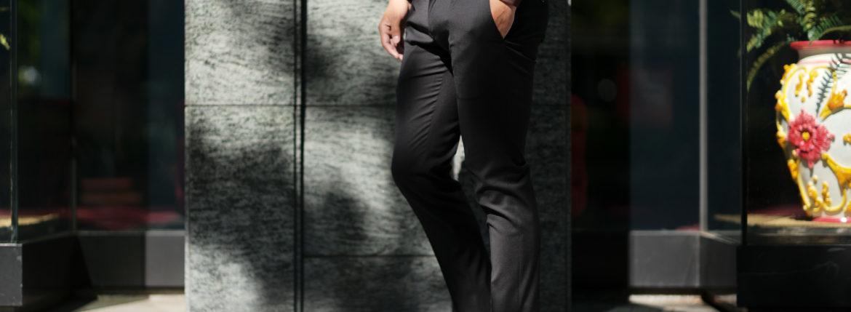VIGANO (ヴィガーノ) WASHABLE SLACKS (ウォッシャブル スラックス) ウォッシャブル トロピカルウール テーパード ワンプリーツ パンツ BLACK (ブラック・998) 2019 春夏新作のイメージ