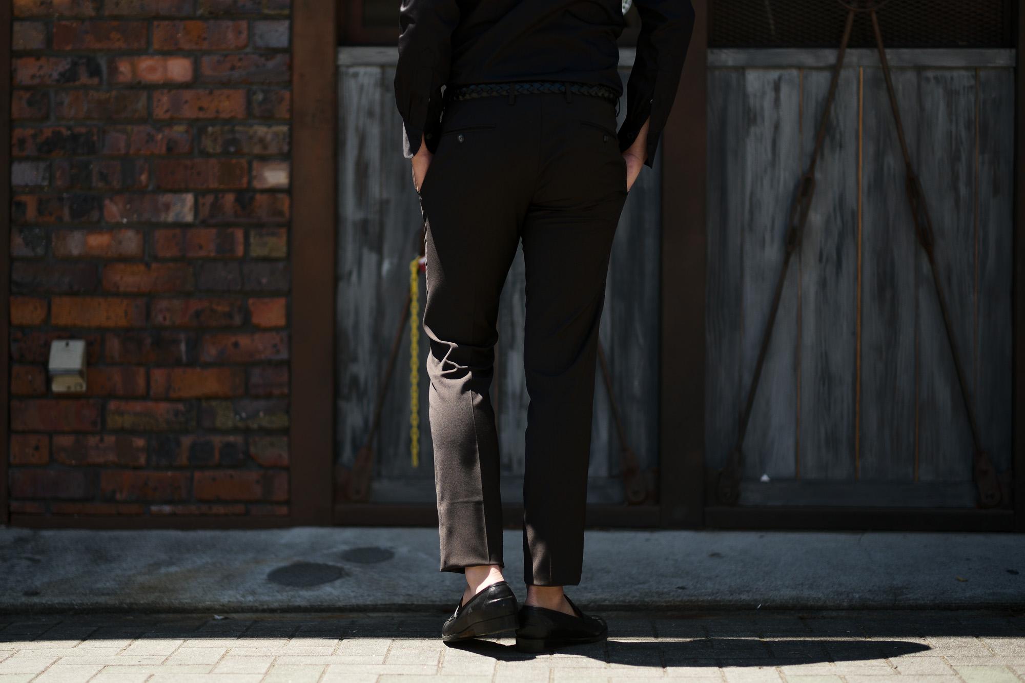 VIGANO (ヴィガーノ) WASHABLE SLACKS (ウォッシャブル スラックス) ウォッシャブル トロピカルウール テーパード ワンプリーツ パンツ BROWN (ブラウン・386) 2019 春夏新作 スラックス グレスラ altoediritt 名古屋 愛知 アルトエデリット