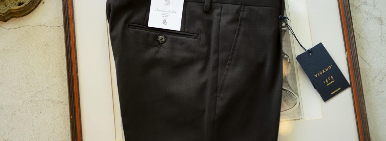 VIGANO (ヴィガーノ) WASHABLE SLACKS (ウォッシャブル スラックス) ウォッシャブル トロピカルウール テーパード ワンプリーツ パンツ BROWN (ブラウン・386) 2019 春夏新作のイメージ