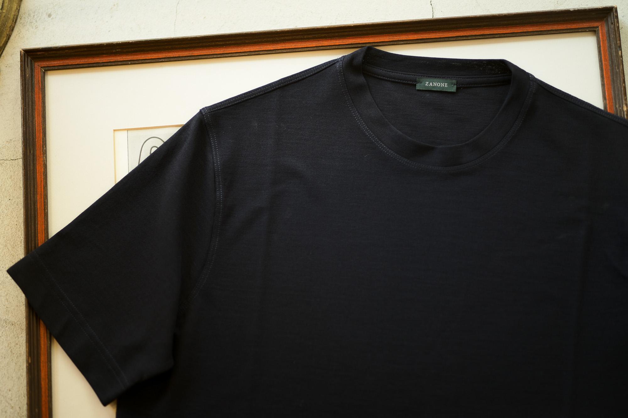 ZANONE (ザノーネ) Crew Neck T-shirt (クルーネックTシャツ) ice cotton アイスコットン Tシャツ NAVY (ネイビー・Z0542) MADE IN ITALY(イタリア製) 2019 春夏新作 愛知 名古屋 altoediritto アルトエデリット