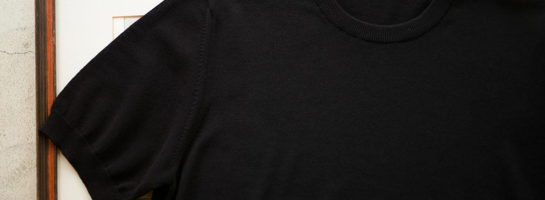 ZANONE (ザノーネ) Knit T-shirt (ニット Tシャツ) コットンニット Tシャツ BLACK (ブラック・Z3369) made in italy (イタリア製) 2019 春夏新作 愛知 名古屋 altoediritto アルトエデリット