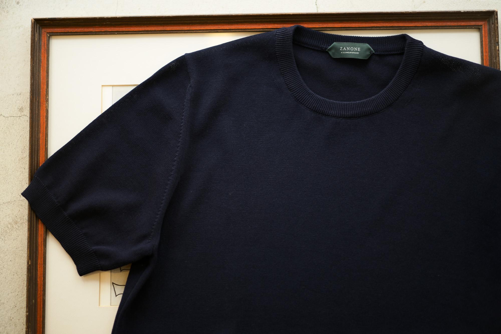 ZANONE (ザノーネ) Knit T-shirt (ニット Tシャツ) コットンニット Tシャツ NAVY (ネイビー・Z0542) made in italy (イタリア製) 2019 春夏新作 愛知 名古屋 altoediritto アルトエデリット