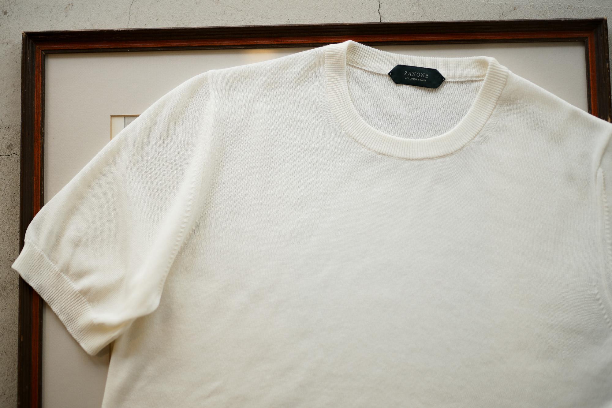 ZANONE (ザノーネ) Knit T-shirt (ニット Tシャツ) コットンニット Tシャツ WHITE (ホワイト・Z3372) made in italy (イタリア製) 2019 春夏新作 愛知 名古屋 altoediritto アルトエデリット