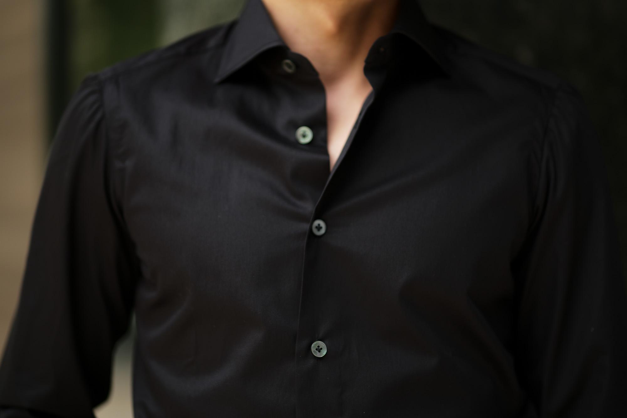 AVINO(アヴィーノ) Poplin Dress Shirts コットン ブロード ポプリン ドレスシャツ BLACK(ブラック) made in italy (イタリア製) 2019 秋冬 【ご予約受付中】  愛知 名古屋 altoediritto アルトエデリット