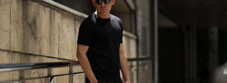 Cruciani (クルチアーニ) Knit T-shirt (ニット Tシャツ) 27ゲージ コットン ニット Tシャツ BLACK (ブラック・Z0048) made in italy (イタリア製) 2019 春夏新作 愛知 名古屋 altoediritto アルトエデリット