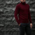 Cuervo (クエルボ) Sartoria Collection (サルトリア コレクション) John(ジョン) Turtle Neck Sweater (タートルネックセーター) ウールニット セーター BORDEAUX (ボルドー) MADE IN JAPAN (日本製) 2019 秋冬 【ご予約受付中】のイメージ