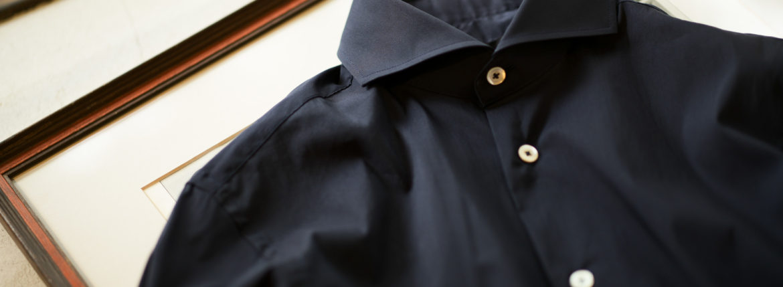 Cuervo (クエルボ) Sartoria Collection (サルトリア コレクション) Pier(ピエル) STRETCH COTTON ストレッチコットン シャツ NAVY(ネイビー) MADE IN ITALY (イタリア製) 2019 春夏 【ネイビー第2便入荷】のイメージ
