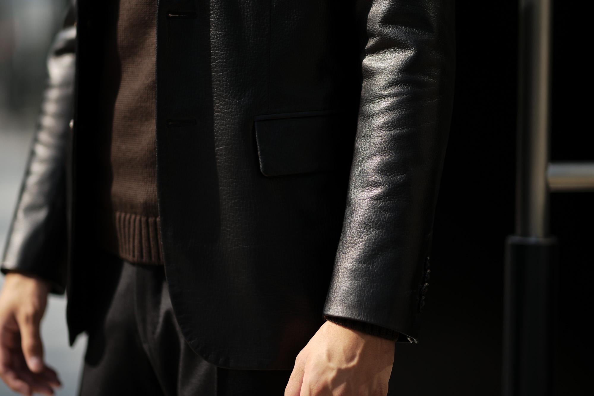 Cuervo (クエルボ) Satisfaction Leather Collection (サティスファクション レザー コレクション) LEON (レオン) BUFFALO LEATHER (バッファロー レザー) シングル テーラード ジャケット BLACK (ブラック) MADE IN JAPAN (日本製) 2019 秋冬 【ご予約受付中】 愛知 名古屋 altoediritto アルトエデリット