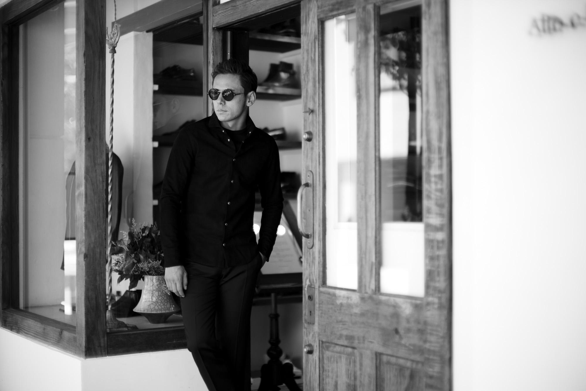 cuervo bopoha(クエルボ ヴァローナ) Satisfaction Leather Collection (サティスファクション レザー コレクション) Noel (ノエル) HORSE NUBUCK ホースヌバック レザーシャツ BLACK (ブラック) MADE IN JAPAN (日本製) 2019 秋冬 altoediritto アルトエデリット ヌバックシャツ レザージャケット