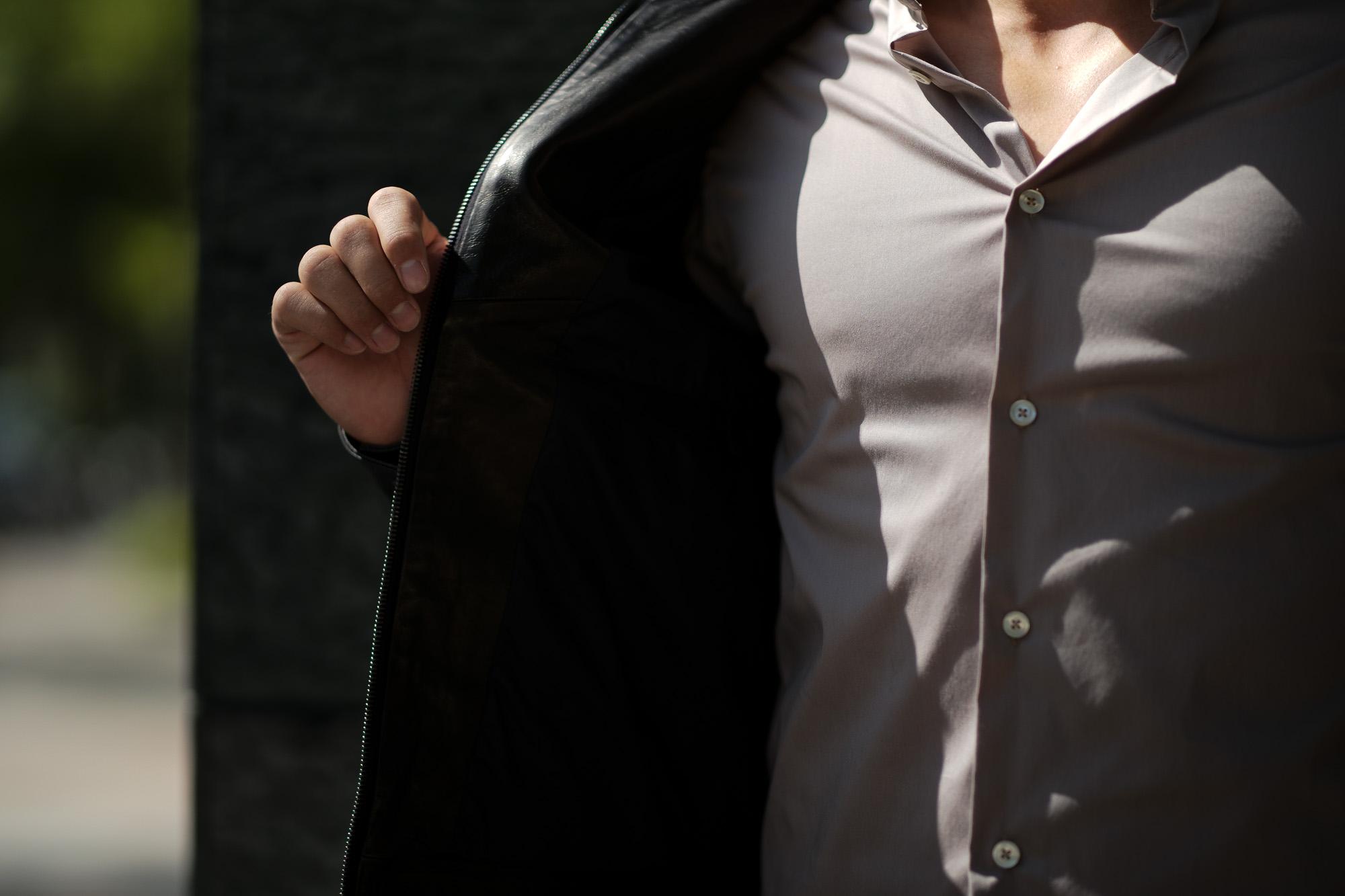 EMMETI(エンメティ) JURI(ユリ) Lambskin nappa Leather シングルライダース レザージャケット NERO (ブラック) made in italy (イタリア製) 2019 秋冬【第1便ご予約受付中】 愛知 alto e diritto アルトエデリット altoediritto 干場さん 干場着 ユーリ