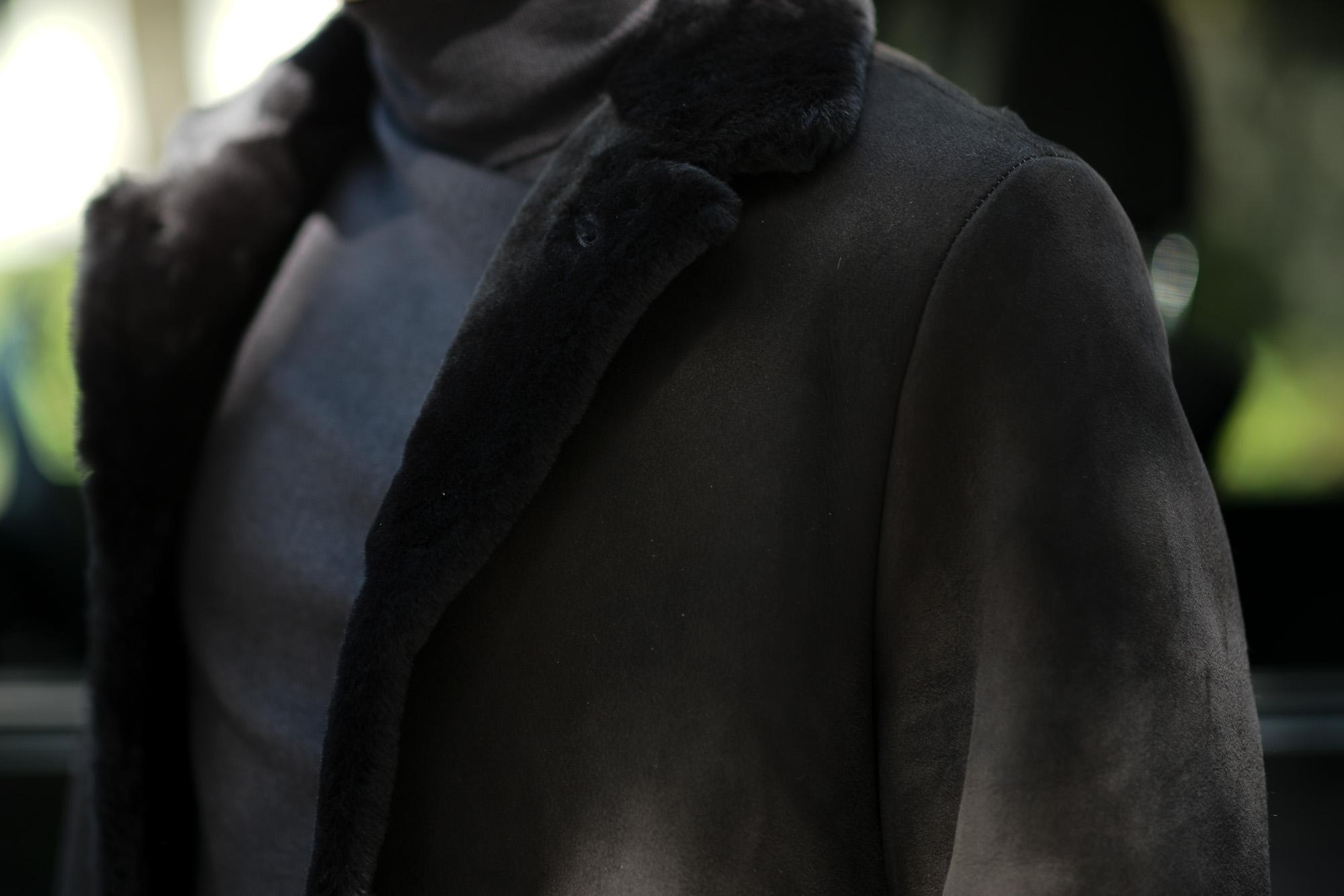 EMMETI (エンメティ) NAT (ナット) Merino Mouton (メリノ ムートン) シングル ムートンコート NERO (ブラック) Made in italy (イタリア製) 2019 秋冬 【ご予約受付中】 愛知 名古屋 alto e diritto アルトエデリット altoediritto 干場さん 干場着 ユーリ