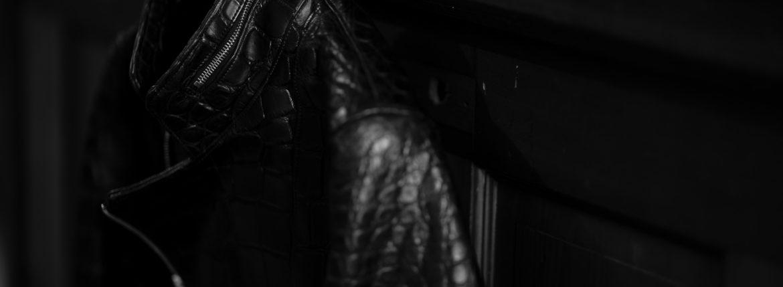 Georges de Patricia (ジョルジュ ド パトリシア) Huracan Porosus Crocodile(ウラカン ポロサス クロコダイル) 925 STERLING SILVER (925 スターリングシルバー) Porosus Crocodile ポロサス クロコダイル エキゾチックレザー ダブルライダース ジャケット NOIR (ブラック) 2019 秋冬 愛知 名古屋 alto e diritto アルトエデリット