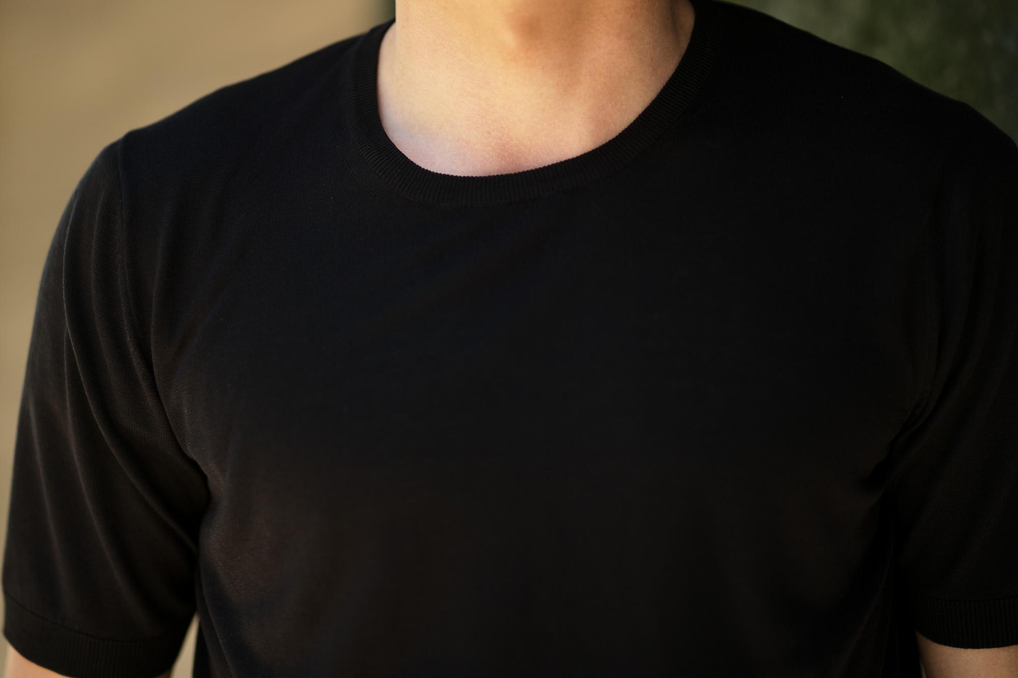 Gran Sasso (グランサッソ) Silk Knit T-shirt (シルクニット Tシャツ) SETA (シルク 100%) ショートスリーブ シルク ニット Tシャツ BLACK (ブラック・099) made in italy (イタリア製) 2019 春夏新作 gransasso 愛知 名古屋 altoediritto アルトエデリット