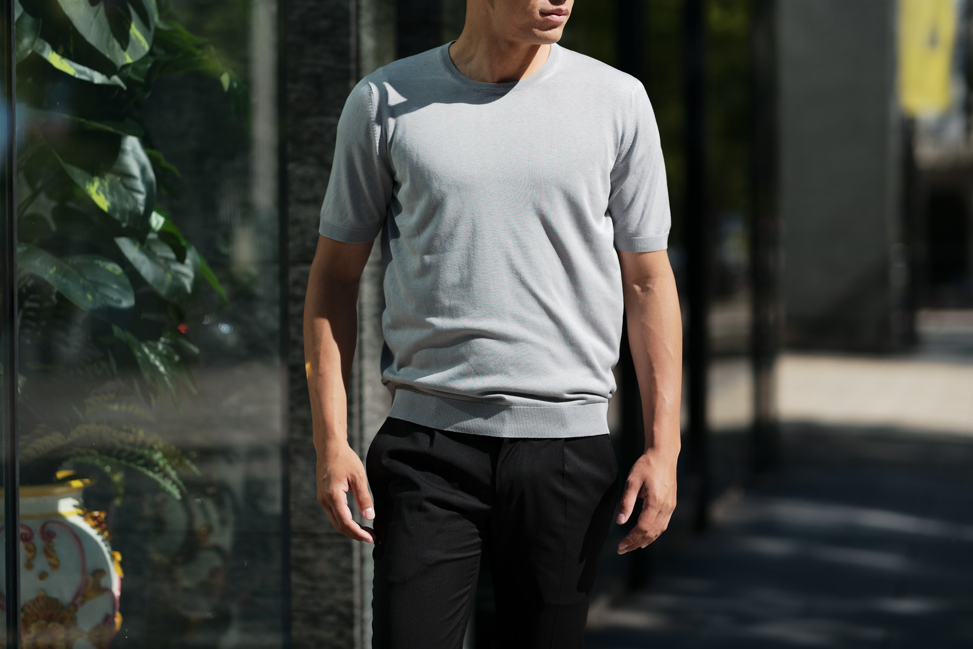 Gran Sasso (グランサッソ) Silk Knit T-shirt (シルクニット) SETA (シルク 100%) ショートスリーブ シルク ニット Tシャツ GREY (グレー・056) made in italy (イタリア製) 2019 春夏新作 gransasso 愛知 名古屋 altoediritto アルトエデリット