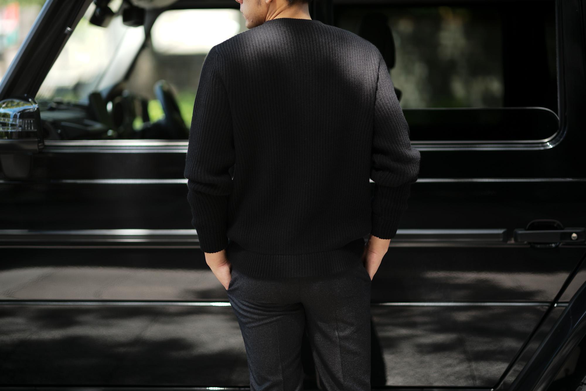 LAMBERTO LOSANI (ランベルト ロザーニ) Cashmere Crew Neck Sweater (カシミア クルーネック セーター) ローゲージ カシミアニット セーター BLACK (ブラック・0901) made in italy (イタリア製) 2019 秋冬 lambertolosani ランベルトロザーニ 愛知 名古屋 altoediritto アルトエデリット