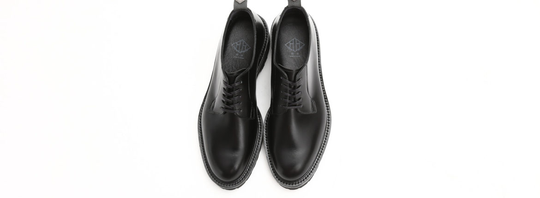 WH (ダブルエイチ) WHS-0010 Plane Toe Shoes (干場氏 スペシャル) Birdie Last (バーディラスト) ANNONAY Vocalou Calf Leather プレーントゥシューズ BLACK (ブラック) MADE IN JAPAN (日本製) 2019 春夏【7月下旬入荷分】【ご予約受付中】のイメージ