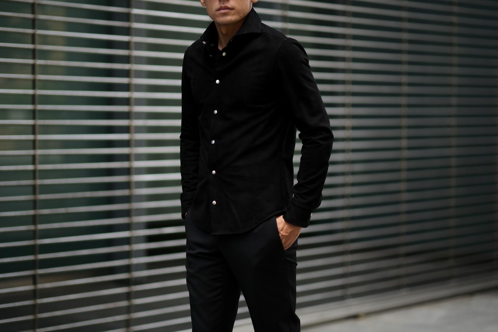 cuervo bopoha(クエルボ ヴァローナ) Satisfaction Leather Collection (サティスファクション レザー コレクション) Noel (ノエル) COW HIDE NUBUCK カウハイド ヌバック レザーシャツ BLACK (ブラック) MADE IN JAPAN (日本製) 2019 秋冬 愛知 名古屋 altoediritto アルトエデリット
