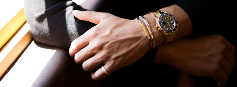 Georges de Patricia(ジョルジュ ド パトリシア) Ghost (ゴースト) 18K GOLD(18K ゴールド) 925 STERLING SILVER (925 スターリングシルバー) WHITE DIAMOND(ホワイトダイヤモンド) ダブル バングル  2019 秋冬のイメージ