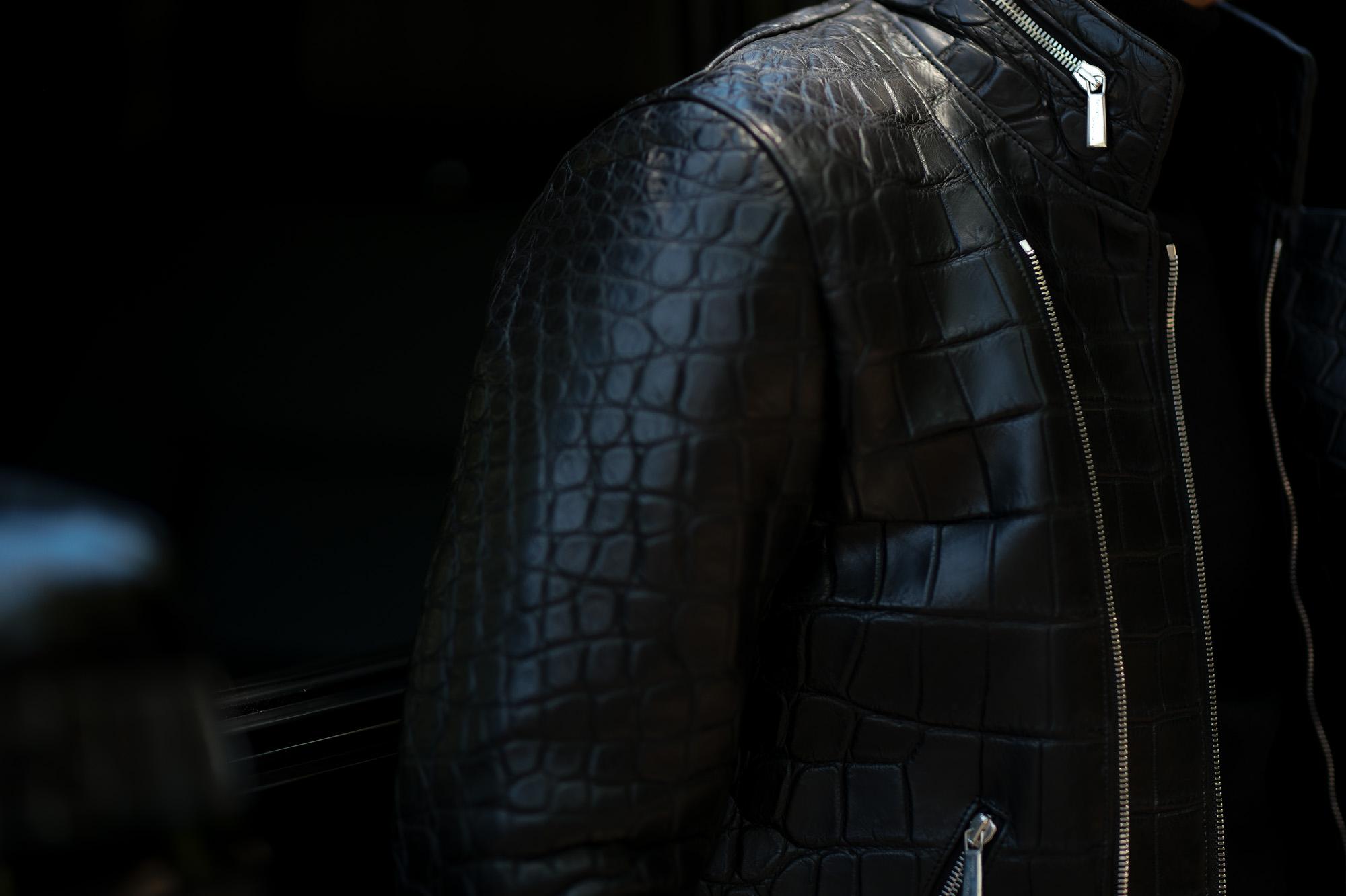 Georges de Patricia (ジョルジュ ド パトリシア) Huracan Porosus Crocodile(ウラカン ポロサス クロコダイル) 925 STERLING SILVER (925 スターリングシルバー) Porosus Crocodile ポロサス クロコダイル エキゾチックレザー ダブルライダース ジャケット NOIR (ブラック) 2019 秋冬 【Speicial Model】【ご予約受付中】愛知 名古屋 alto e diritto アルトエデリット
