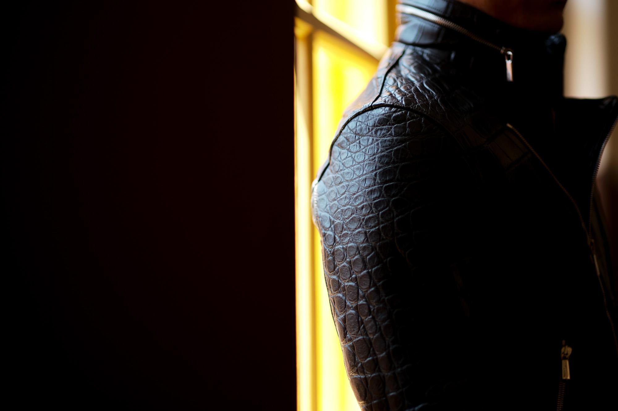 Georges de Patricia (ジョルジュ ド パトリシア) Huracan Porosus Crocodile(ウラカン ポロサス クロコダイル) 925 STERLING SILVER (925 スターリングシルバー) Porosus Crocodile ポロサス クロコダイル エキゾチックレザー ダブルライダース ジャケット NOIR (ブラック) 2019 秋冬 【Special Model】【ご予約受付中】愛知 名古屋 alto e diritto アルトエデリット