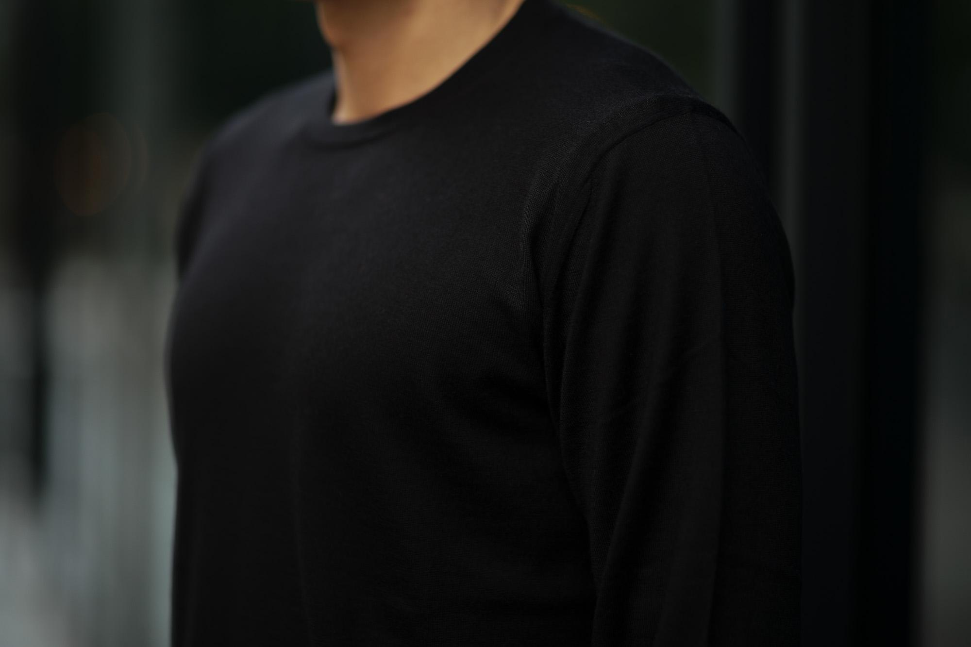 Cruciani (クルチアーニ) Silk Cashmere Crew Neck Sweater (シルクカシミヤ クルーネック セーター) ハイゲージ シルクカシミヤニット セーター BLACK (ブラック・30060) made in italy (イタリア製) 2019 秋冬新作 愛知 名古屋 altoediritto アルトエデリット