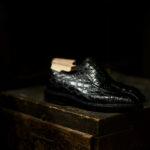 ENZO BONAFE(エンツォボナフェ) BERING(ベーリング) Crocodile クロコダイル ノルベジェーゼ製法 Uチップシューズ エキゾチックレザーシューズ COCCO NERO (ブラック)  made in italy(イタリア製)のイメージ