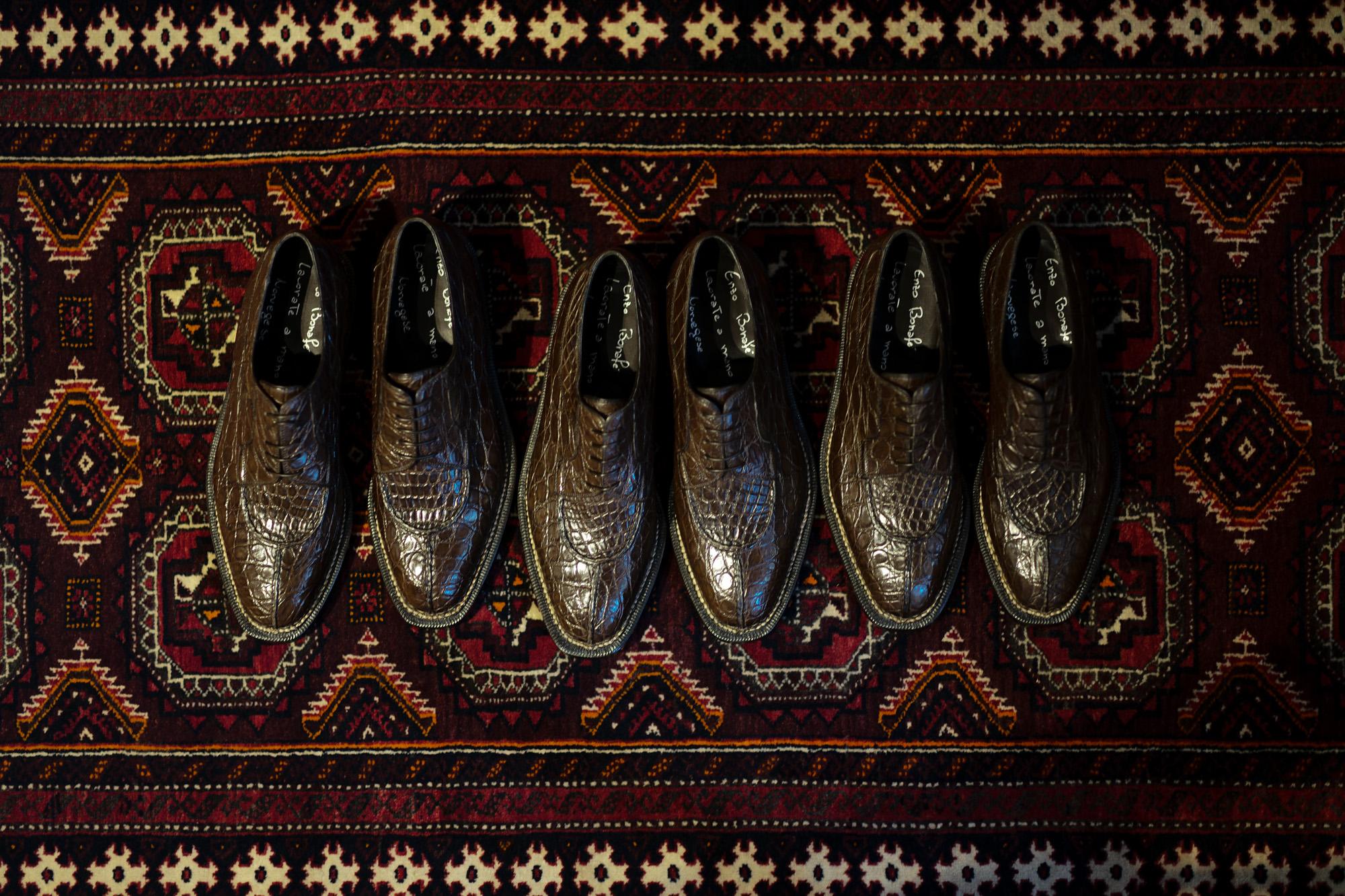 ENZO BONAFE(エンツォボナフェ) BERING(ベーリング) Crocodile クロコダイル ノルベジェーゼ製法 Uチップシューズ エキゾチックレザーシューズ COCCO DARK BROWN・107(ダークブラウン・107)  made in italy(イタリア製) 2019春夏新作 enzobonafe 愛知 名古屋 Alto e Diritto アルト エ デリット クロコ ハギ altoediritto アルトエデリット