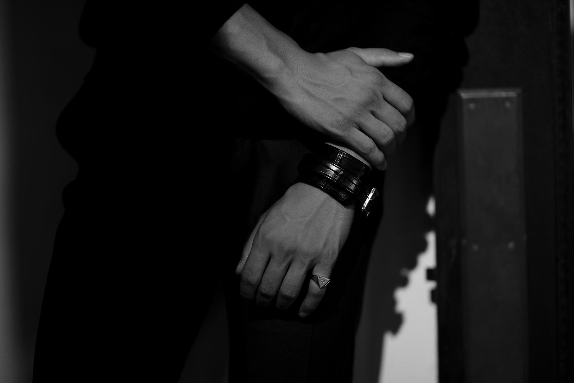 FIXER(フィクサー) CROCODILE LEATHER BRACELET 925 STERLING SILVER (925 スターリングシルバー) クロコダイル レザー ブレスレット BLACK (ブラック) 愛知 名古屋 altoediritto アルトエデリット クロコダイル ブレスレット バングル