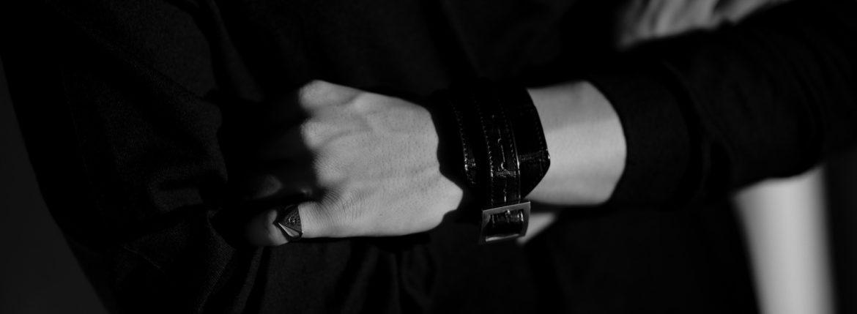 FIXER(フィクサー) CROCODILE LEATHER BRACELET 925 STERLING SILVER (925 スターリングシルバー) クロコダイル レザー ブレスレット BLACK (ブラック)のイメージ