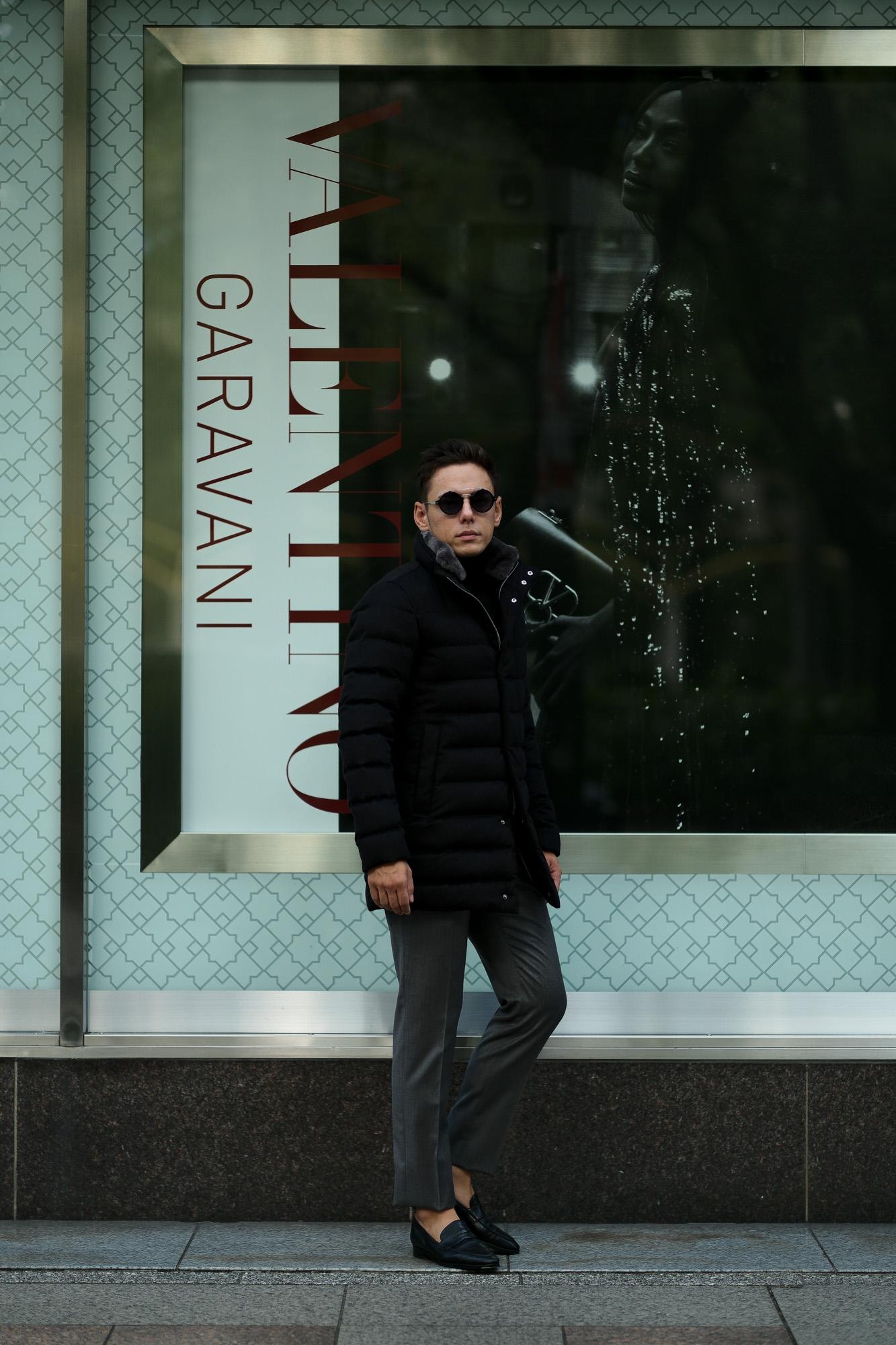 HERNO(ヘルノ) PI0584U Silk Cashmere Down coat (シルク カシミア ダウン コート) PIACENZA (ピアツェンツァ) DROP GLIDE NYLON ULTRALIGHT 撥水 シルク カシミア ダウン コート BLACK (ブラック・9300) Made in italy (イタリア製) 2019 秋冬新作 alto e dirittoアルトエデリット 42,44,46,48,50,52 愛知 名古屋