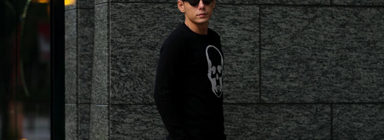 lucien pellat-finet (ルシアン ペラフィネ) Skull Cashmere Sweater (スカル カシミア セーター) インターシャ カシミア スカル セーター BLACK × GRAY (ブラック × グレー) made in scotland (スコットランド製) 2019 秋冬新作のイメージ