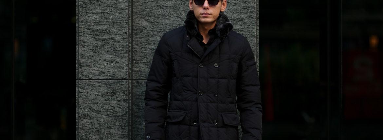 MOORER (ムーレー) SIRO-KM2 (シロ) ホワイトグースダウン ナイロン ダブルブレスト ダウンジャケット NERO(ブラック・08) Made in italy (イタリア製) 2019 秋冬新作のイメージ