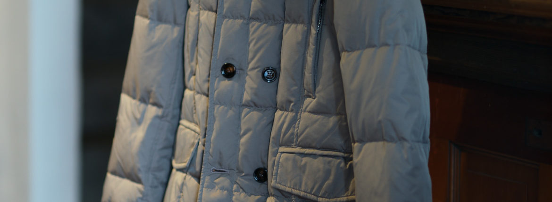 MOORER (ムーレー) SIRO-KM2 (シロ) ホワイトグースダウン ナイロン ダブルブレスト ダウンジャケット VISONE (ベージュ・32) Made in italy (イタリア製) 2019 秋冬新作 【入荷しました】【フリー分発売開始】のイメージ