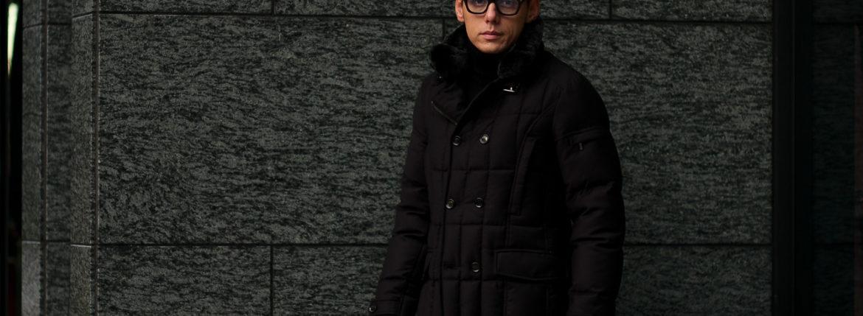 MOORER (ムーレー) SIRO-L (シロ) LoroPiana (ロロピアーナ) ウールカシミア ダブルブレスト ダウン ジャケット NERO(ブラック・08)  Made in italy (イタリア製) 【2019 秋冬分 ご予約受付中】のイメージ