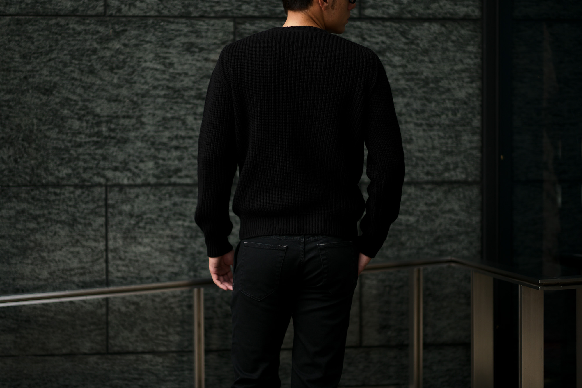 Settefili Cashmere (セッテフィーリ カシミア) Cashmere Crew Neck Sweater ローゲージ カシミアニット セーター BLACK (ブラック・CG102) made in italy (イタリア製) 2019 秋冬新作 settefilicashmere 愛知 名古屋 altoediritto アルトエデリット カシミヤ