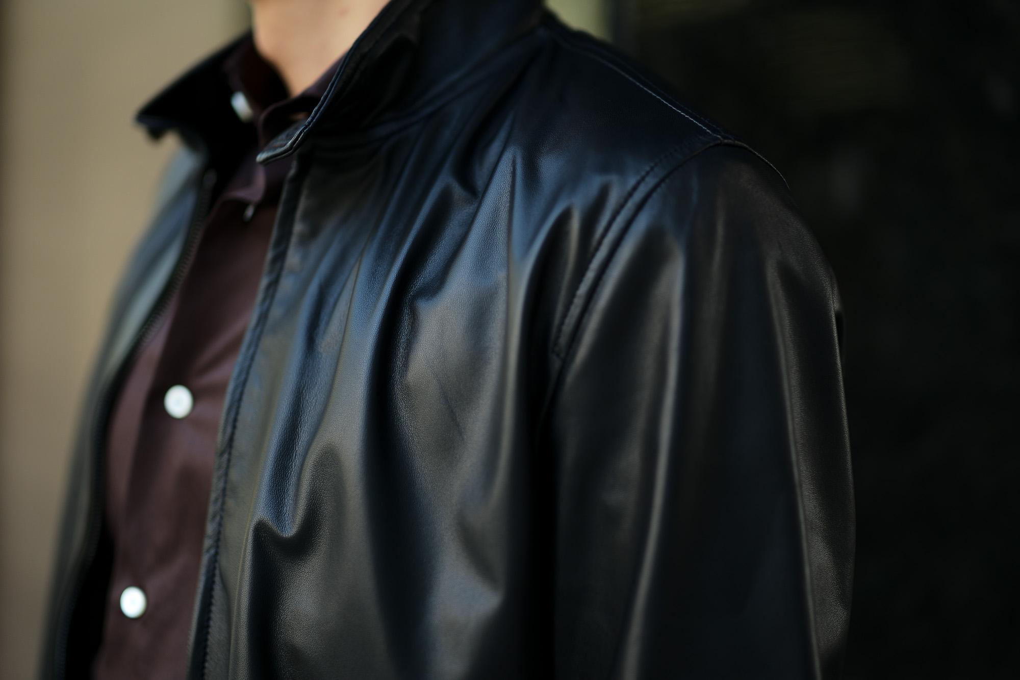SILENCE (サイレンス) Single Rib Leather Jacket (シングル リブ レザー ジャケット) Lambskin Nappa Leather (ラムナッパ レザー) シングル ライダース ジャケット NERO (ブラック) Made in italy (イタリア製) 2019 秋冬新作 愛知 名古屋 東京 大阪 alto e diritto アルトエデリット altoediritto