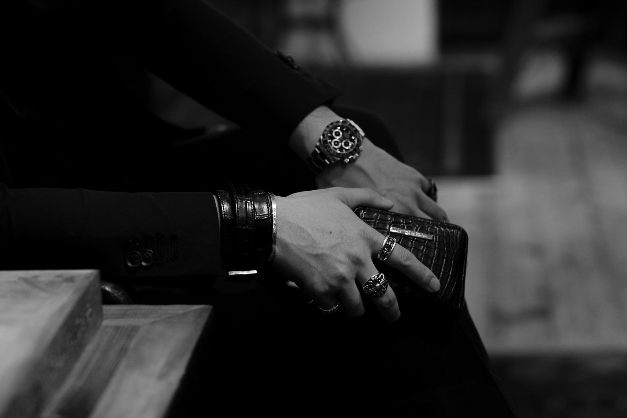 FIXER(フィクサー) CROCODILE LEATHER BRACELET 925 STERLING SILVER(925 スターリングシルバー) クロコダイル レザー ブレスレット BLACK (ブラック) 【ご予約受付中】 愛知 名古屋 altoediritto アルトエデリット クロコダイル ブレスレット バングル