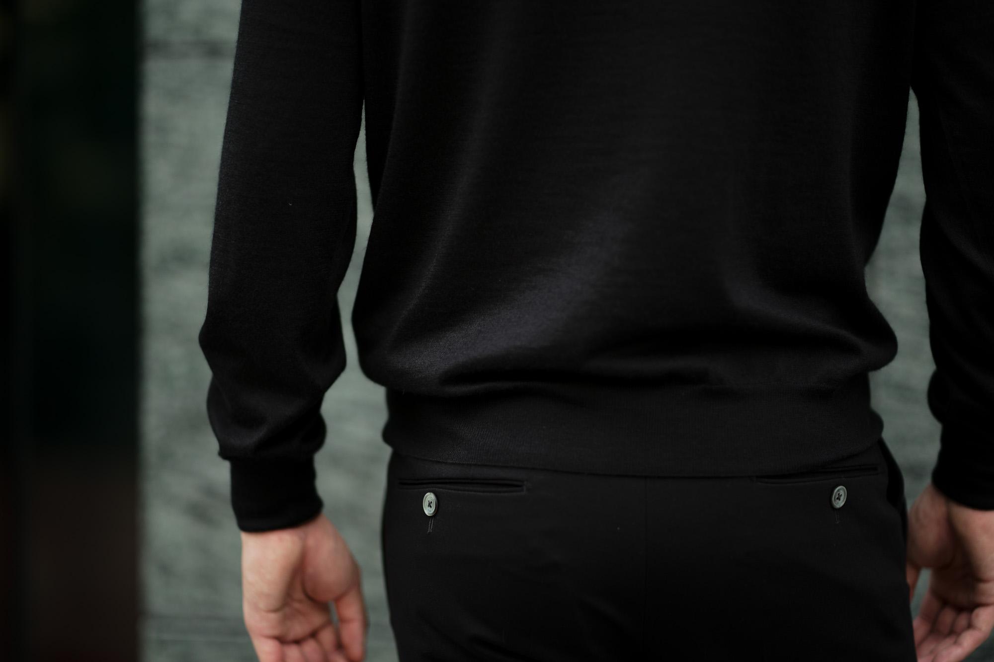 LAMBERTO LOSANI (ランベルト ロザーニ) Silk Cashmere Crew Neck Sweater(シルクカシミア クルーネック セーター) ハイゲージ シルクカシミヤニット セーター BLACK (ブラック・901) made in italy (イタリア製) 2019 秋冬新作  lambertolosani altoediritto アルトエデリット 愛知 名古屋