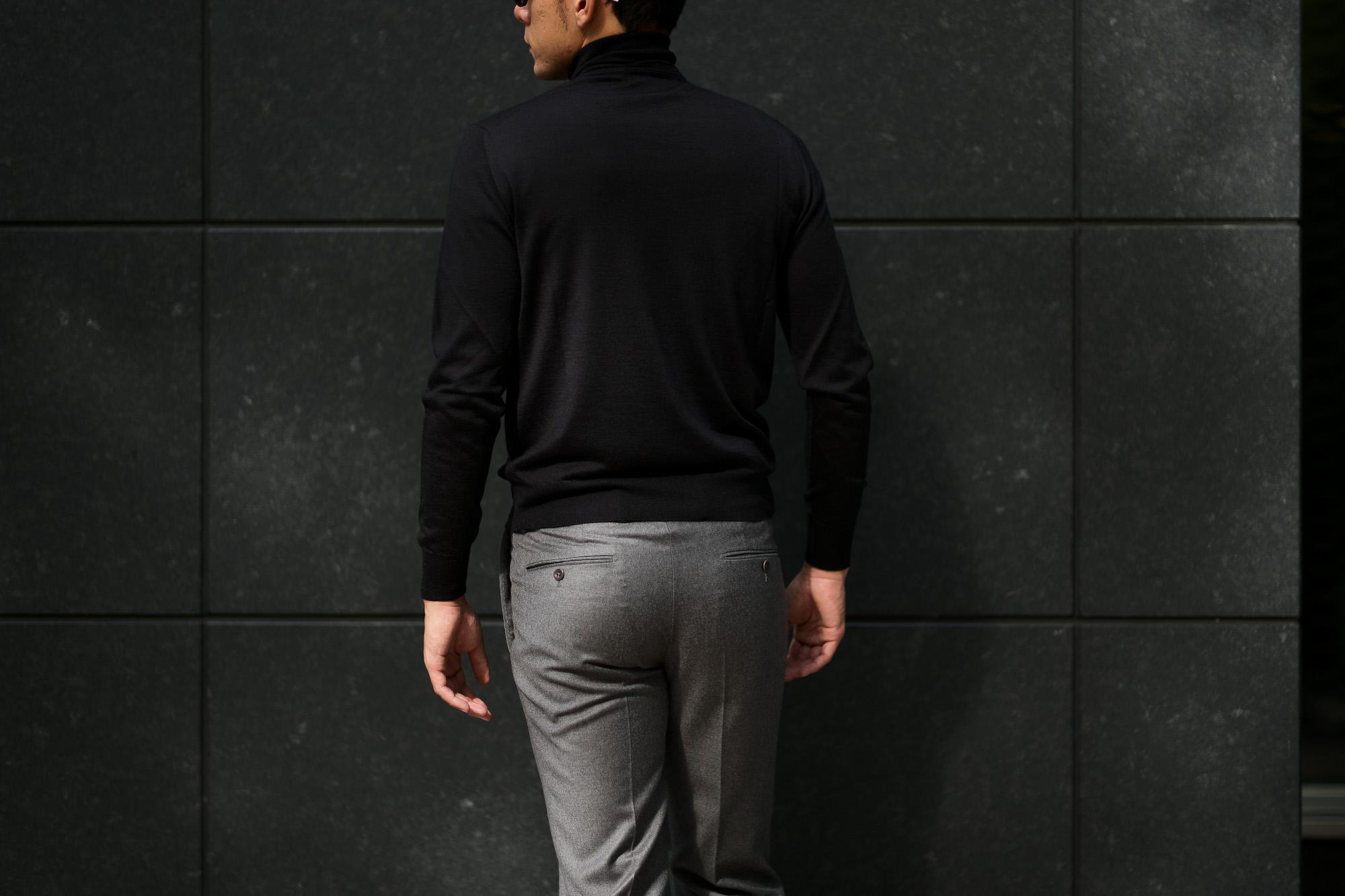LAMBERTO LOSANI (ランベルト ロザーニ) Silk Cashmere Turtle Neck Sweater(シルクカシミア タートルネック セーター) ハイゲージ シルクカシミヤニット セーター BLACK (ブラック・901) made in italy (イタリア製) 2019 秋冬新作 lambertolosani altoediritto アルトエデリット 愛知 名古屋