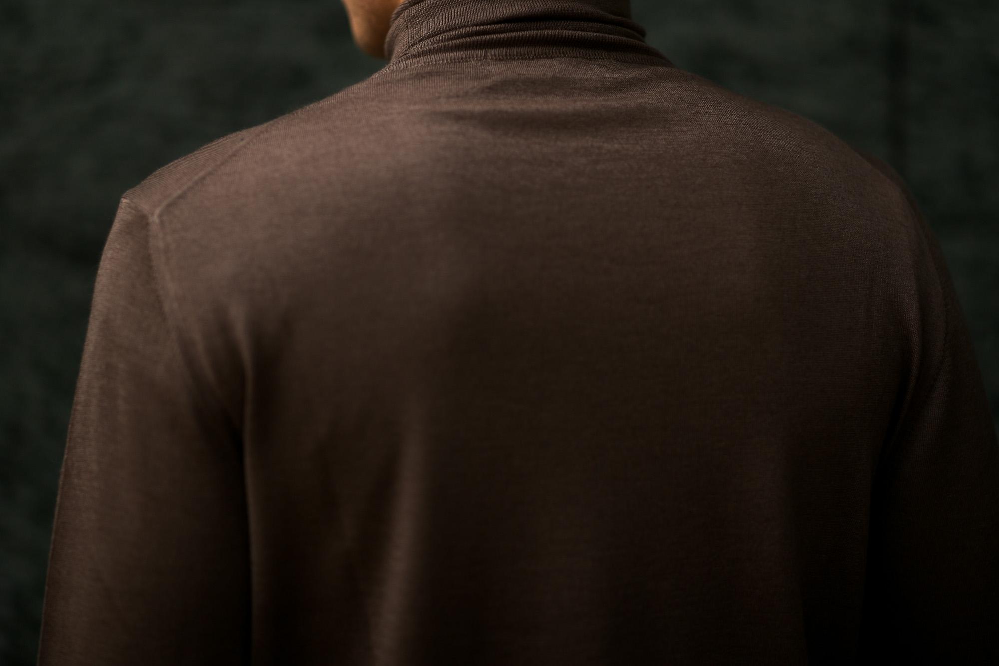 LAMBERTO LOSANI (ランベルト ロザーニ) Silk Cashmere Turtle Neck Sweaterシルクカシミア タートルネック セーター) ハイゲージ シルクカシミヤニット セーター BROWN (ブラウン・325) made in italy (イタリア製) 2019 秋冬新作 lambertolosani altoediritto アルトエデリット 愛知 名古屋