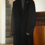 LARDINI (ラルディーニ) Cashmere Spolverino Chester coat (カシミヤ スポルベリーノ チェスターコート) カシミヤフラノ生地 シングル チェスターコート BLACK (ブラック・4) Made in italy (イタリア製) 2019 秋冬新作 【入荷しました】【フリー分発売開始】のイメージ