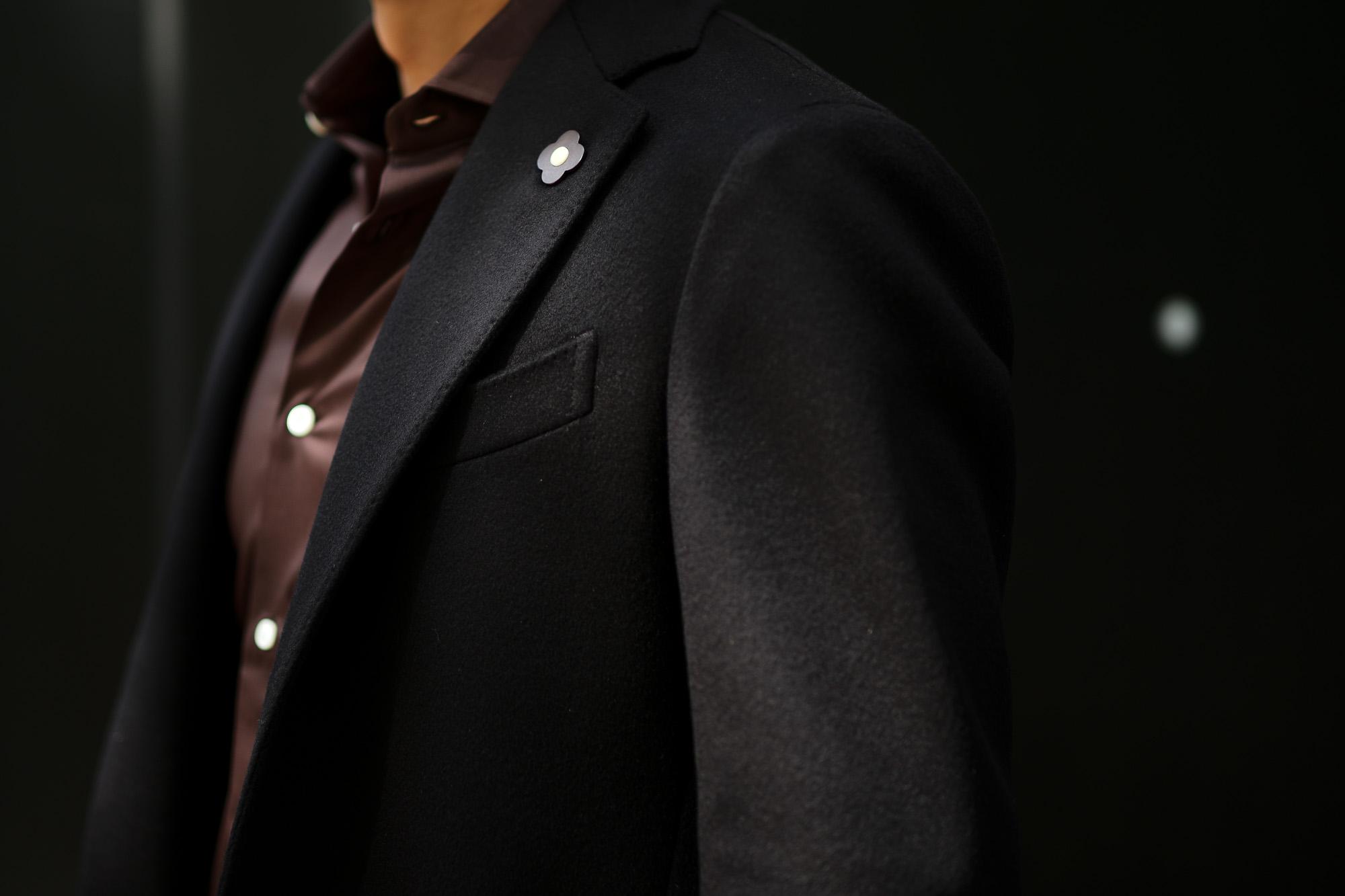 LARDINI (ラルディーニ) Spolverino Chester coat (スポルベリーノ チェスターコート) フラノウール生地 シングル チェスターコート BLACK (ブラック・4) Made in italy (イタリア製) 2019 秋冬新作 愛知 名古屋 Altoediritto アルトエデリット コート ロングコート