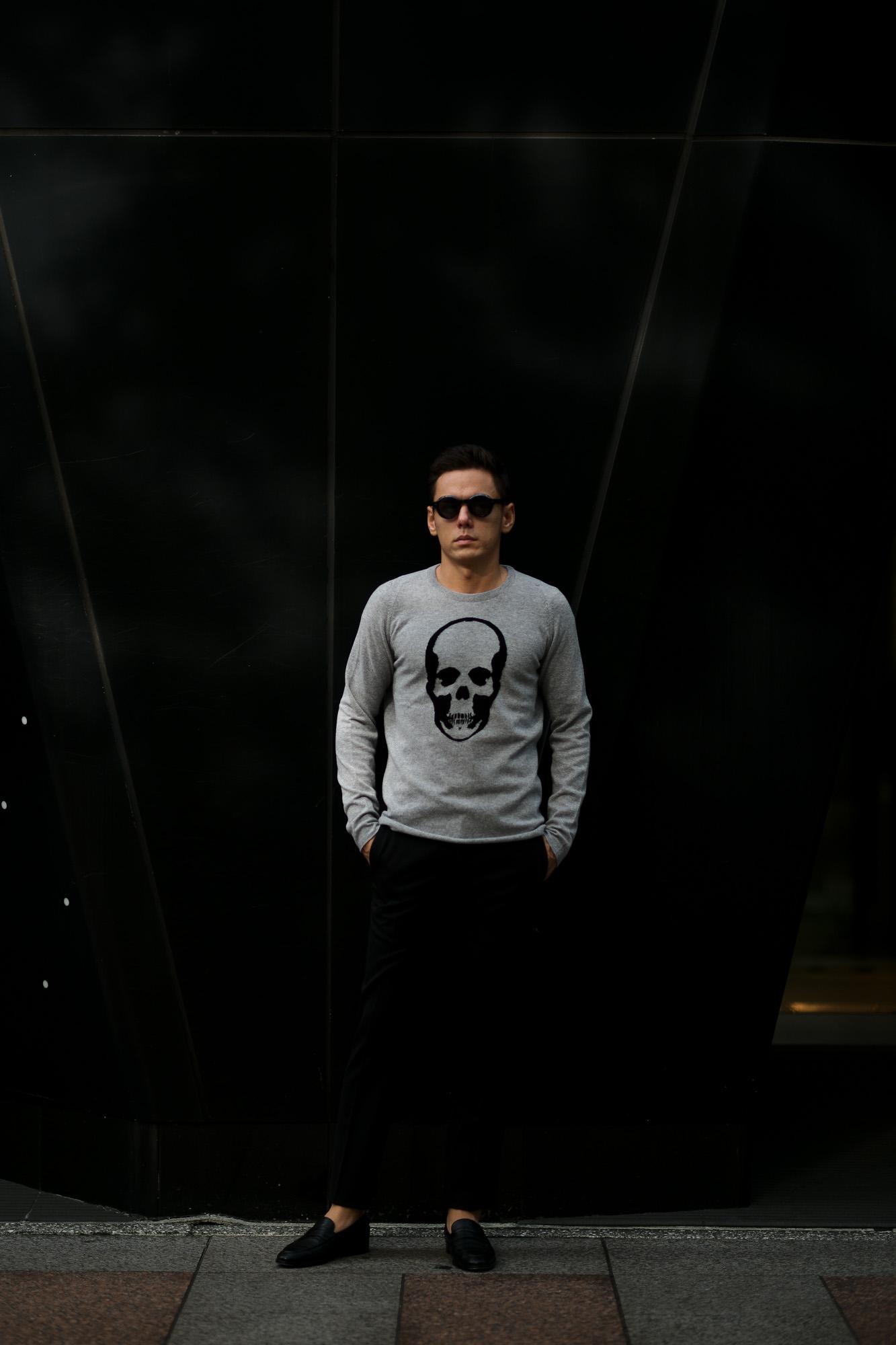 lucien pellat-finet (ルシアン ペラフィネ) Skull Cashmere Sweater (スカル カシミア セーター) インターシャ カシミア スカル セーター  FELT GRAY×BLACK (フェルト グレー×ブラック) made in scotland (スコットランド製) 2019 秋冬新作 lucienpellatfinet ルシアンペラフィネ 愛知 名古屋 altoediritto アルトエデリット