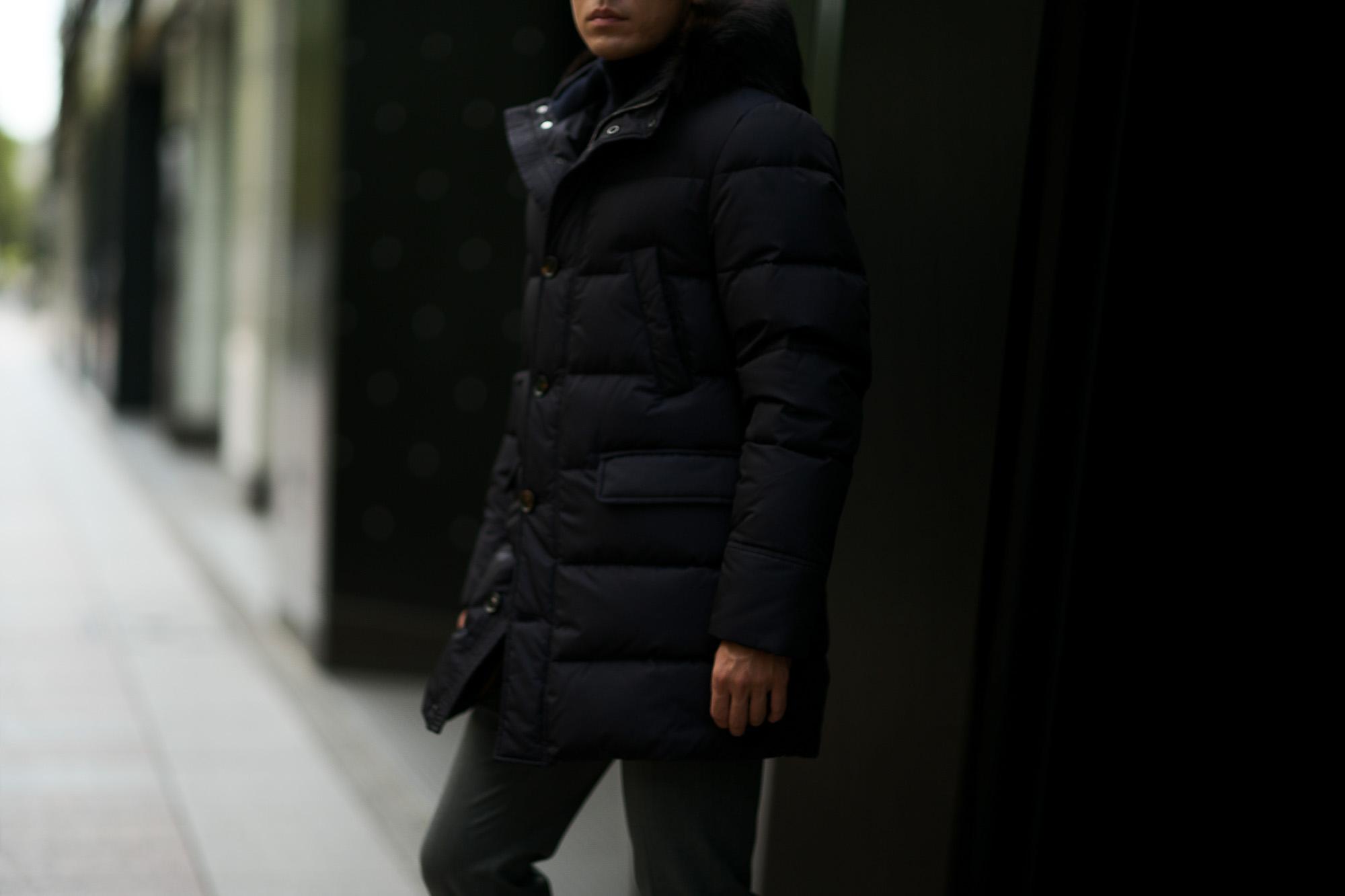 MOORER (ムーレー) BARBIERI-KM (バルビエリ) ホワイトグースダウン ナイロン フーデッド ダウン コート BLU (ネイビー) Made in italy (イタリア製) 2019 秋冬新作 愛知 名古屋 altoediritto アルトエデリット