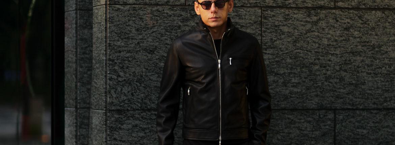 SILENCE (サイレンス) Single Leather Jacket (シングルレザー ジャケット) Goatskin Leather (ゴートスキンレザー) シングル ライダース ジャケット NERO (ブラック) Made in italy (イタリア製) 2019 秋冬新作のイメージ