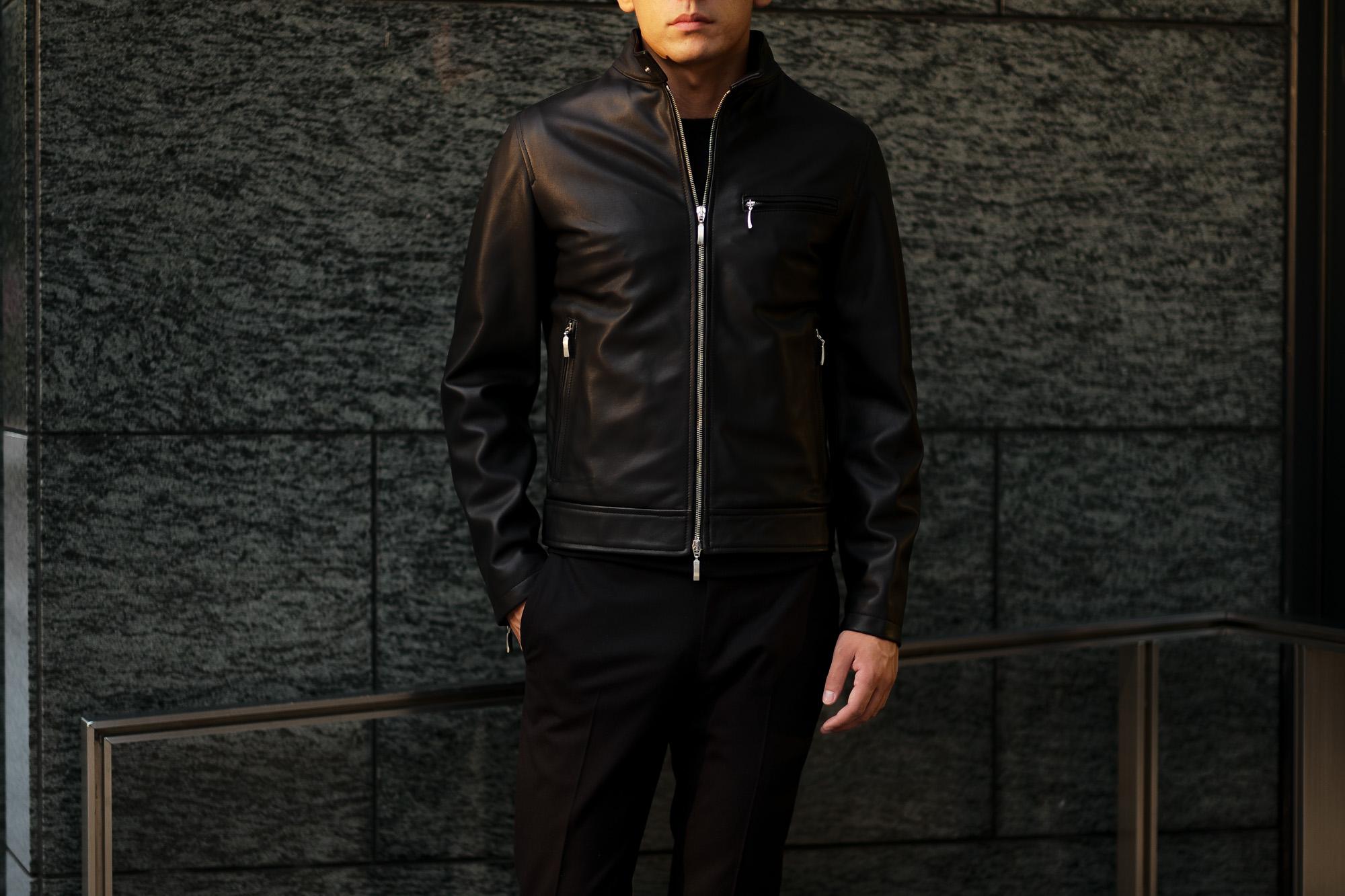 SILENCE (サイレンス) Single Leather Jacket (シングルレザー ジャケット) Goatskin Leather (ゴートスキンレザー) シングル ライダース ジャケット NERO (ブラック) Made in italy (イタリア製) 2019 秋冬新作 愛知 名古屋 altoediritto アルトエデリット